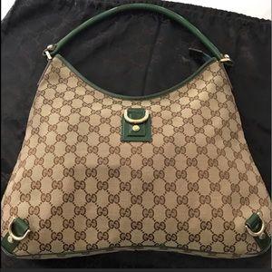 Gucci Classic Canvas w Green Patent Leather Straps